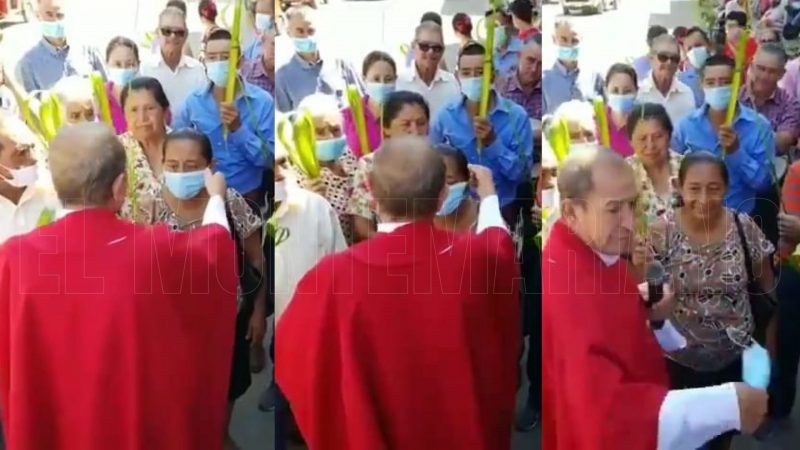 En celebración de Domingo de Ramos sacerdote le quitó el tapabocas a asistente en una romería