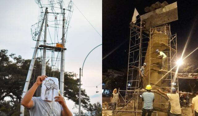 En Cali levantan 'monumento a la resistencia', en el marco del paro nacional